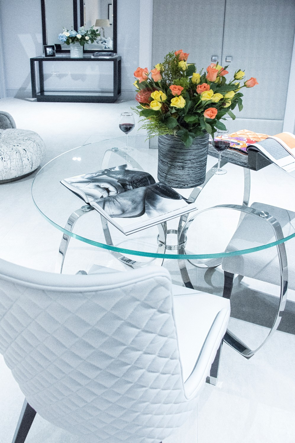 ELLE ROUND CHROME DINING TABLE